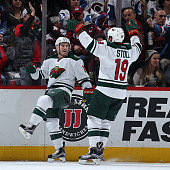 Jordan Schroeder of the Minnesota Wild celebrates his goal against the Colorado Avalanche with Jarret Stoll of the Minnesota Wild to take a 20 lead...