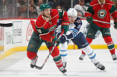 Jordan Schroeder of the Minnesota Wild skates against the Winnipeg Jets during the game on November 10 2015 at the Xcel Energy Center in St Paul...