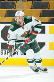 Jordan Schroeder of the Minnesota Wild skates during warm ups before the game against the Boston Bruins at the TD Garden on November 19 2015 in...