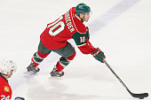 Jordan Schroeder of the Minnesota Wild skates with the puck against the Florida Panthers during the game on February 12 2015 at the Xcel Energy...