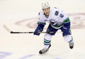 Jordan Schroeder of the Vancouver Canucks at American Airlines Center on February 21 2013 in Dallas Texas
