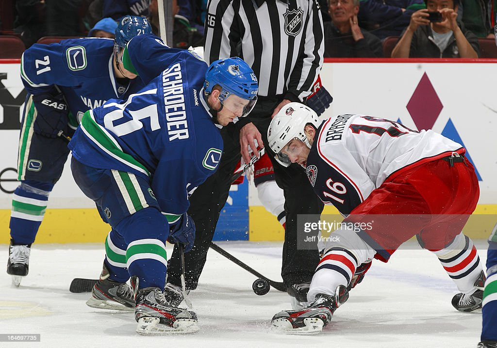 <a gi-track='captionPersonalityLinkClicked' href=/galleries/search?phrase=Jordan+Schroeder&family=editorial&specificpeople=4450940 ng-click='$event.stopPropagation()'>Jordan Schroeder</a> #45 of the Vancouver Canucks faces off with <a gi-track='captionPersonalityLinkClicked' href=/galleries/search?phrase=Derick+Brassard&family=editorial&specificpeople=540468 ng-click='$event.stopPropagation()'>Derick Brassard</a> #16 of the Columbus Blue Jackets during their NHL game at Rogers Arena March 26, 2013 in Vancouver, British Columbia, Canada. Vancouver won 1-0.