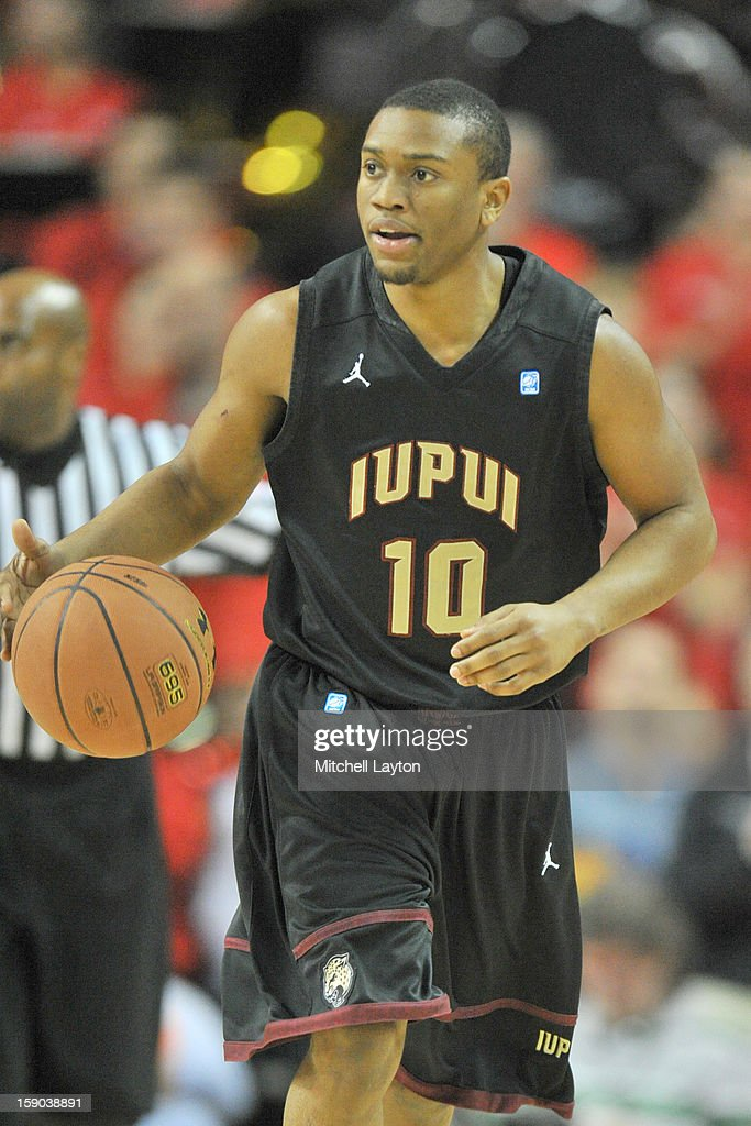 Jordan Shanklin #10 of the IUPUI Jaguars dribbles the ball up court during a college basketball game against the Maryland Terrapins on January 1, 2013 at the Comcast Center in College Park, Maryland. The Terrapins won 81-63.