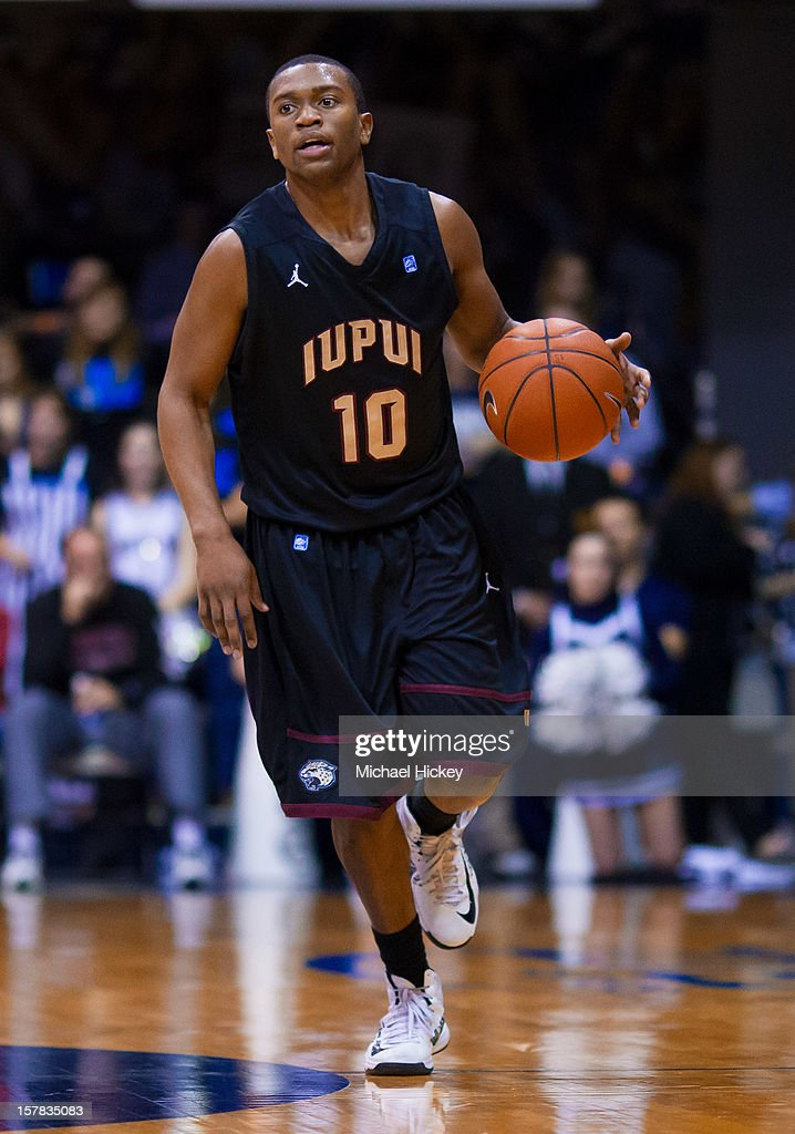 Jordan Shanklin #10 of the IUPUI Jaguars dribbles the ball up court against the Butler Bulldogs at Hinkle Fieldhouse on December 5, 2012 in Indianapolis, Indiana. Butler defeated IUPUI