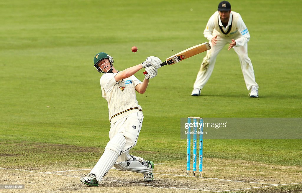 Jordan Silk of Tasmania bats during day four of the Sheffield Shield match between the Tasmania Tigers and the Victoria Bushrangers at Blundstone Arena on March 17, 2013 in Hobart, Australia.
