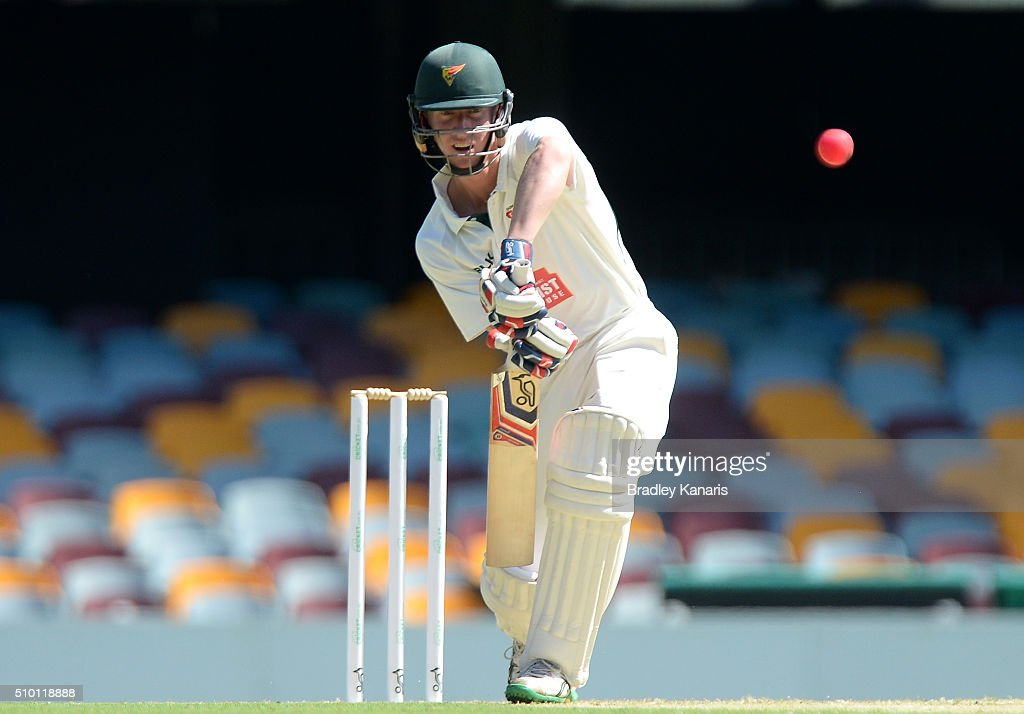 Jordan Silk of Tasmania bats during day one of the Sheffield Shield match between Queensland and Tasmania at The Gabba on February 14, 2016 in Brisbane, Australia.