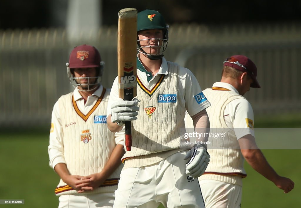 Jordan Silk of the Tigers acknowledges the crowd after scoring a half century during day one of the Sheffield Shield final between the Tasmania Tigers and the Queensland Bulls at Blundstone Arena on March 22, 2013 in Hobart, Australia.