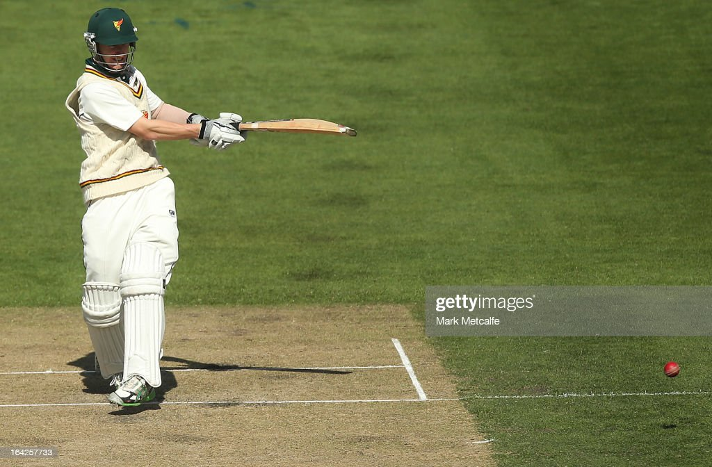 Jordan Silk of the Tigers bats during day one of the Sheffield Shield final between the Tasmania Tigers and the Queensland Bulls at Blundstone Arena on March 22, 2013 in Hobart, Australia.