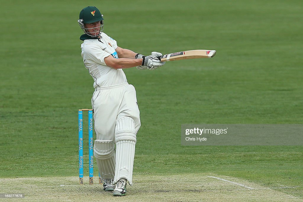Jordan Silk of the Tigers bats during day one of the Sheffield Shiled match between the Queenaland Bulls and the Tasmanian Tigers at The Gabba on March 7, 2013 in Brisbane, Australia.