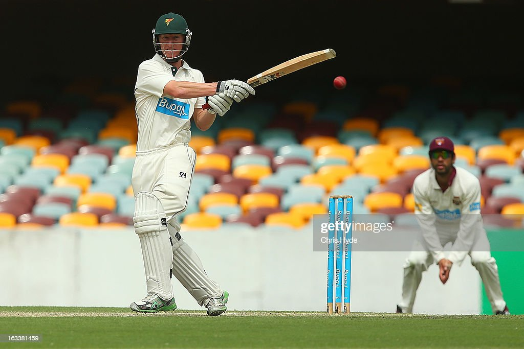Jordan Silk of the Tigers bats during day three of the Sheffield Shield match between the Queensland Bulls and the Tasmanian Tigers at The Gabba on March 9, 2013 in Brisbane, Australia.
