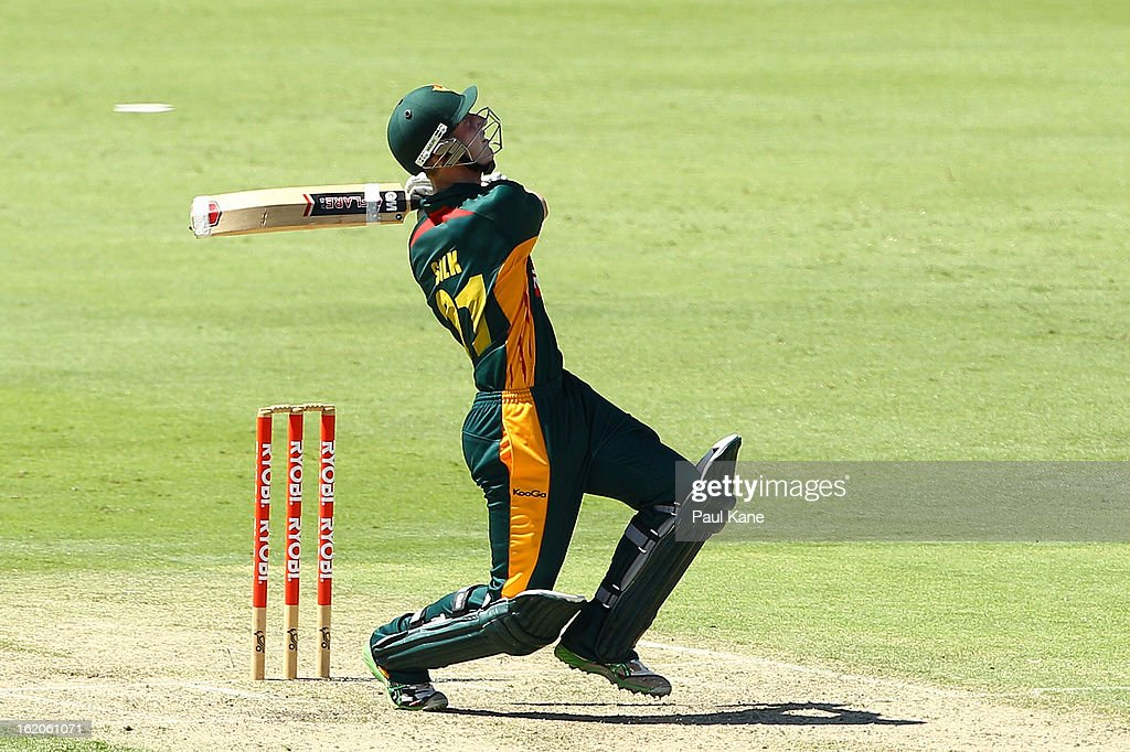 Jordan Silk of the Tigers bats during the Ryobi One Day Cup match between the Western Australia Warriors and the Tasmanian Tigers at the WACA on February 19, 2013 in Perth, Australia.
