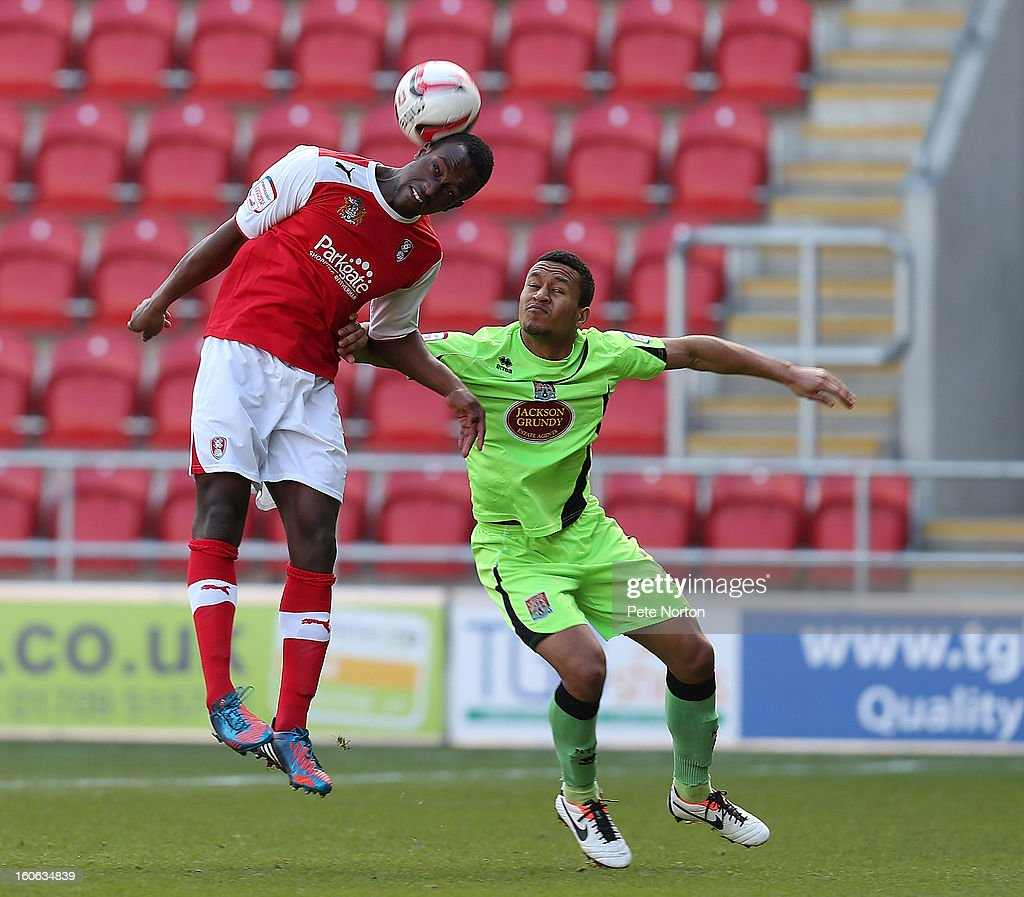 Jordan Slew (L) of Rotherham United heads the ball watched by Joe Widdowson of Northampton Town during the npower League Two match between Rotherham United and Northampton Town at New York Stadium on February 2, 2013 in Rotherham, England.