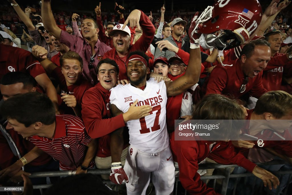 Jordan Smallwood #17 of the Oklahoma Sooners celebrates with fans after defeating the Ohio State Buckeyes 31-16 at Ohio Stadium on September 9, 2017 in Columbus, Ohio.