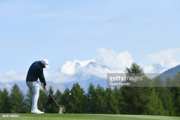 Jordan Smith of England on the 12th during day one of the 2017 Omega European Masters at CranssurSierre Golf Club on September 7 2017 in CransMontana...