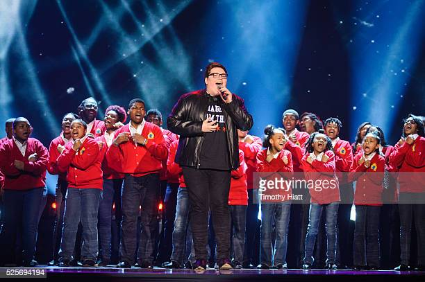 Jordan Smith performs with Soul Children Of Chicago at WeDay in Illinois at Allstate Arena on April 28 2016 in Chicago Illinois