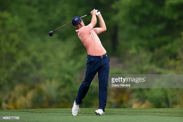 Jordan Speith hits his second shot on the fifteenth hole during the first round of the Shell Houston Open at the Golf Club of Houston on April 2 2015...