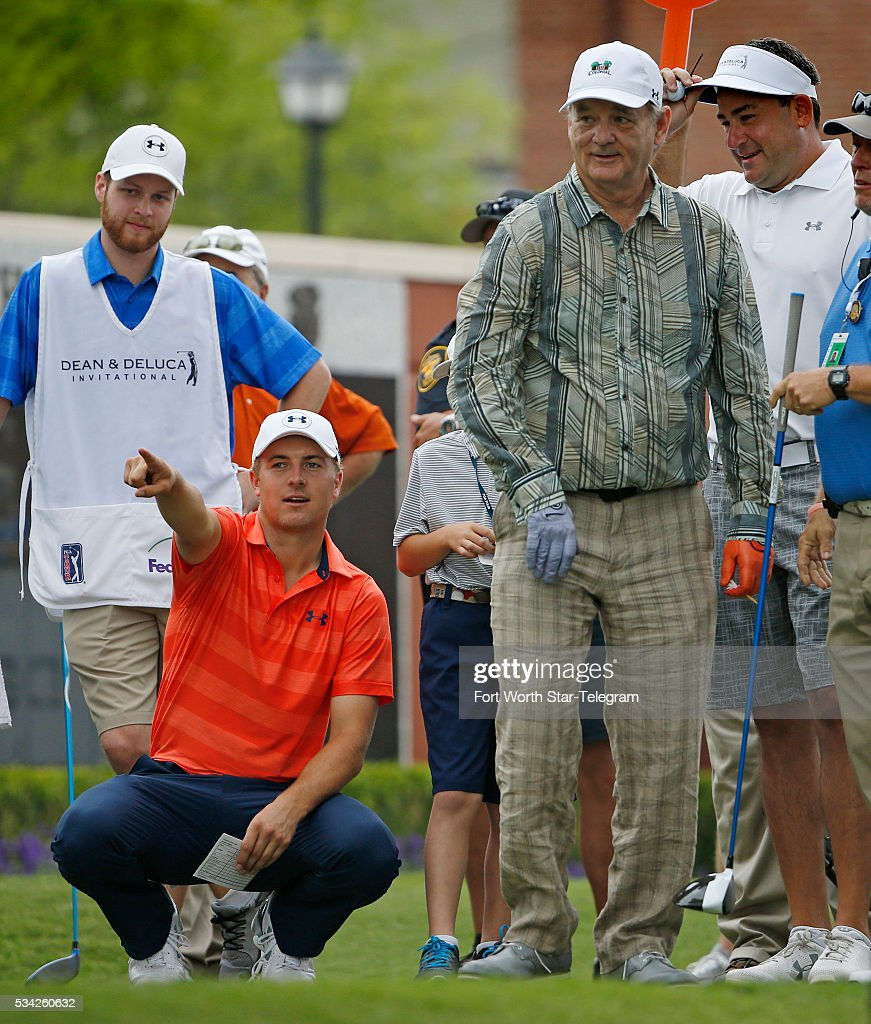 Jordan Spieth and actor Bill Murray after teeing off on the first tee during the Colonial Pro-Am at the Dean & Deluca Invitational on Wednesday, May 25, 2016, in Fort Worth, Texas.
