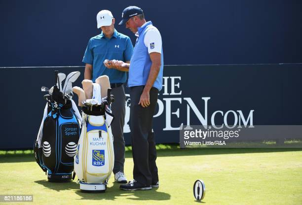 Jordan Spieth and Matt Kuchar of the United States check their ball markings on the first tee during the final round of the 146th Open Championship...