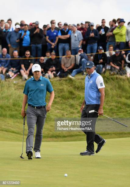 Jordan Spieth and Matt Kuchar of the United States on the 7th green during the final round of the 146th Open Championship at Royal Birkdale on July...