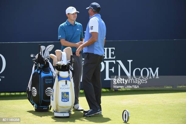 Jordan Spieth and Matt Kuchar of the United States shake hands on the first tee during the final round of the 146th Open Championship at Royal...