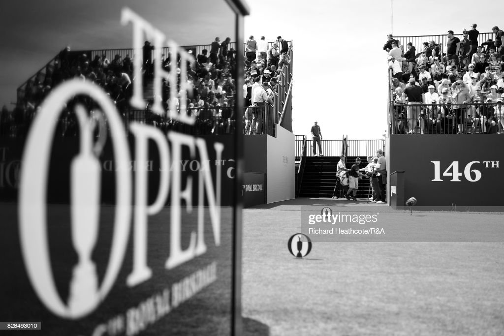 Jordan Spieth and Matt Kuchar of the United States walk onto the 1st tee during the final round of the 146th Open Championship at Royal Birkdale on July 23, 2017 in Southport, England.