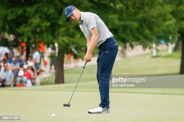 Jordan Spieth attempts his birdie putt on during the second round of the ATT Byron Nelson on May 19 2017 at the TPC Four Seasons Resort in Irving TX