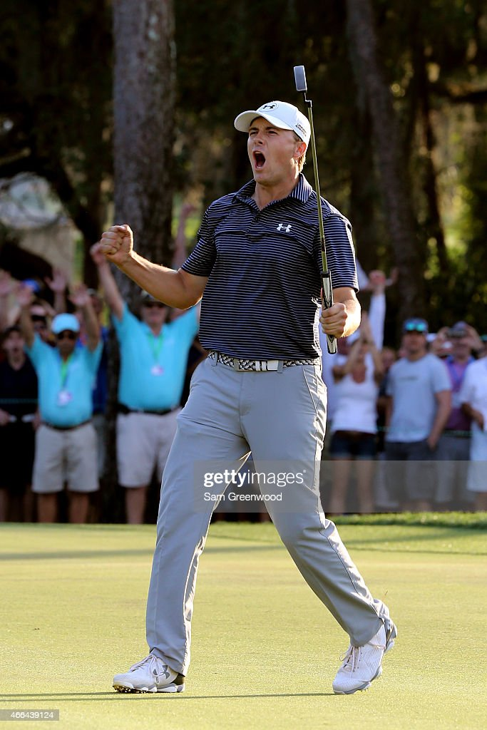Jordan Spieth celebrates after a birdie putt on the third playoff hole to win the Valspar Championship during the final round at Innisbrook Resort Copperhead Course on March 15, 2015 in Palm Harbor, Florida.