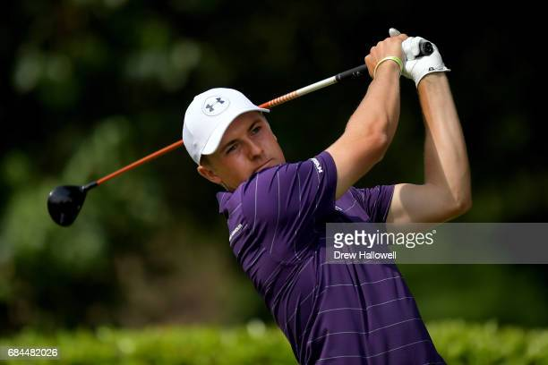 Jordan Spieth his a shot on the first tee during Round One of the ATT Byron Nelson at the TPC Four Seasons Resort Las Colinas on May 18 2017 in...