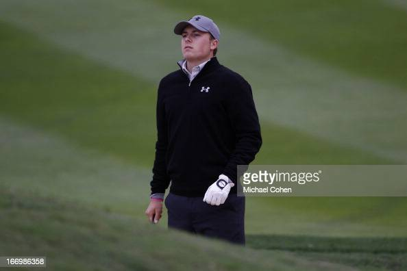 Jordan Spieth hits a bunker shot during the first round of the Valero Texas Open held at the ATT Oaks Course at TPC San Antonio on April 4 2013 in...