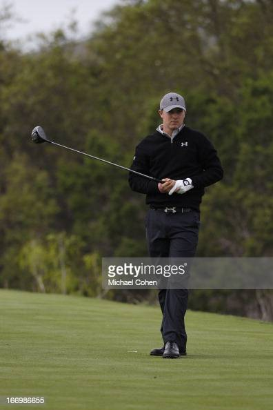 Jordan Spieth hits a drive during the first round of the Valero Texas Open held at the ATT Oaks Course at TPC San Antonio on April 4 2013 in San...