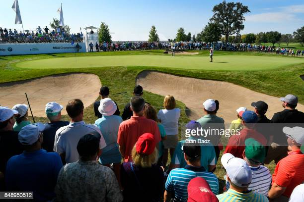 Jordan Spieth hits a putt on the second hole during the final round of the BMW Championship at Conway Farms Golf Club on September 17 2017 in Lake...