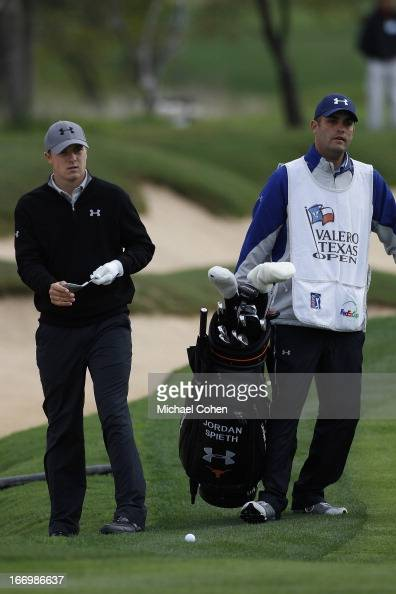 Jordan Spieth hits a shot during the first round of the Valero Texas Open held at the ATT Oaks Course at TPC San Antonio on April 4 2013 in San...