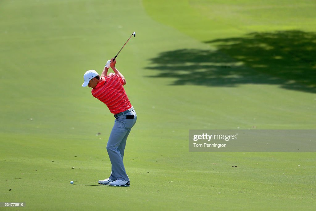 <a gi-track='captionPersonalityLinkClicked' href=/galleries/search?phrase=Jordan+Spieth&family=editorial&specificpeople=5440480 ng-click='$event.stopPropagation()'>Jordan Spieth</a> hits a shot on the 18th hole during the Second Round of the DEAN & DELUCA Invitational at Colonial Country Club on May 27, 2016 in Fort Worth, Texas.