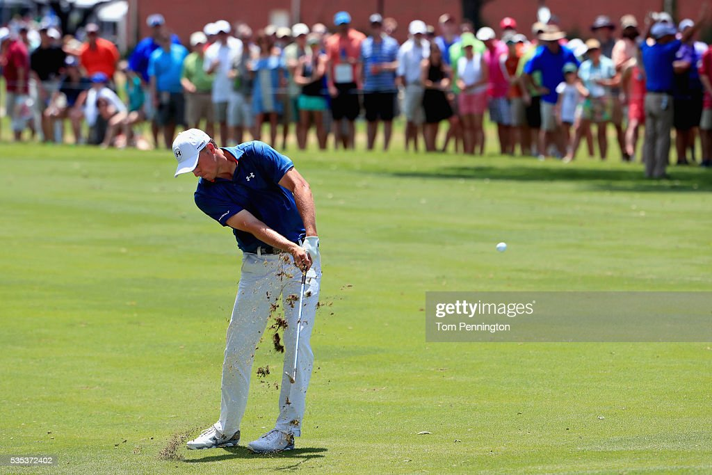 <a gi-track='captionPersonalityLinkClicked' href=/galleries/search?phrase=Jordan+Spieth&family=editorial&specificpeople=5440480 ng-click='$event.stopPropagation()'>Jordan Spieth</a> hits a shot on the seventh hole during the Final Round of the DEAN & DELUCA Invitational at Colonial Country Club on May 29, 2016 in Fort Worth, Texas.