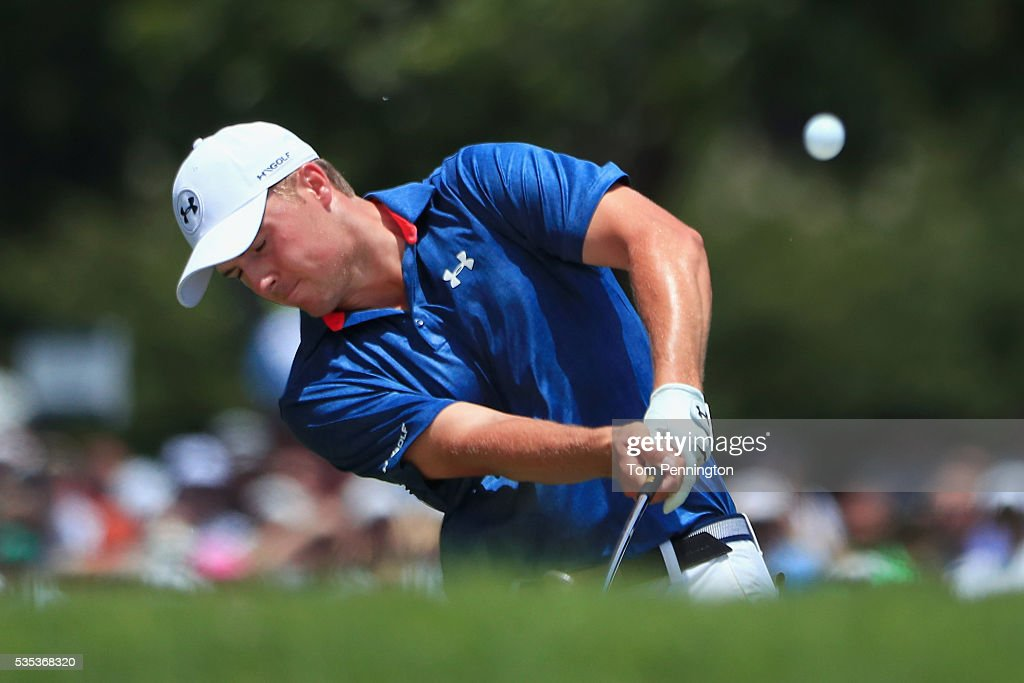 <a gi-track='captionPersonalityLinkClicked' href=/galleries/search?phrase=Jordan+Spieth&family=editorial&specificpeople=5440480 ng-click='$event.stopPropagation()'>Jordan Spieth</a> hits a shot on the sixth hole during the Final Round of the DEAN & DELUCA Invitational at Colonial Country Club on May 29, 2016 in Fort Worth, Texas.