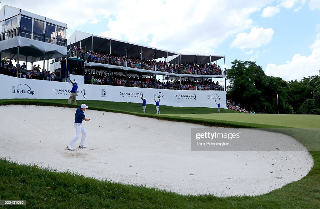 <a gi-track='captionPersonalityLinkClicked' href=/galleries/search?phrase=Jordan+Spieth&family=editorial&specificpeople=5440480 ng-click='$event.stopPropagation()'>Jordan Spieth</a> hits a shot out of the bunker on the 13th hole during the Final Round of the DEAN & DELUCA Invitational at Colonial Country Club on May 29, 2016 in Fort Worth, Texas.