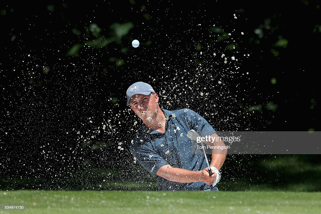 <a gi-track='captionPersonalityLinkClicked' href=/galleries/search?phrase=Jordan+Spieth&family=editorial&specificpeople=5440480 ng-click='$event.stopPropagation()'>Jordan Spieth</a> hits a shot out of the bunker on the fifth hole during the Third Round of the DEAN & DELUCA Invitational at Colonial Country Club on May 28, 2016 in Fort Worth, Texas.