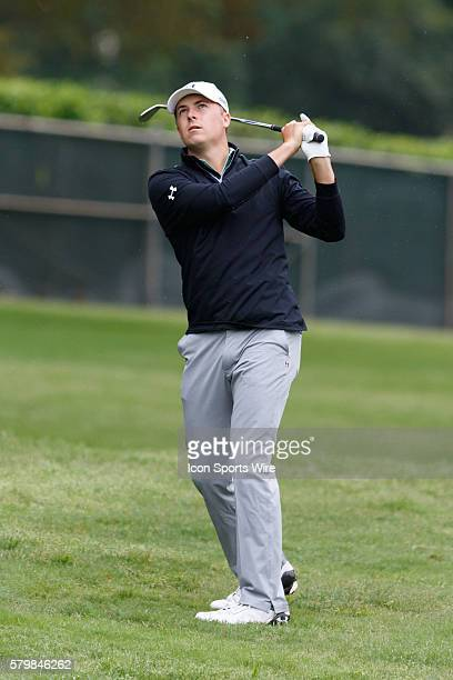 Jordan Spieth hits a soft flop shot close to the hole on during the second round of the Crowne Plaza Invitational at Colonial in Fort Worth TX