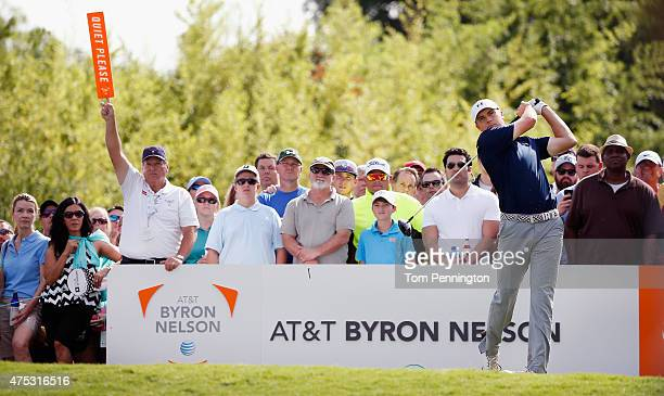 Jordan Spieth hits a tee shot on the ninth hole during Round Three of the ATT Byron Nelson at the TPC Four Seasons Resort Las Colinas on May 30 2015...