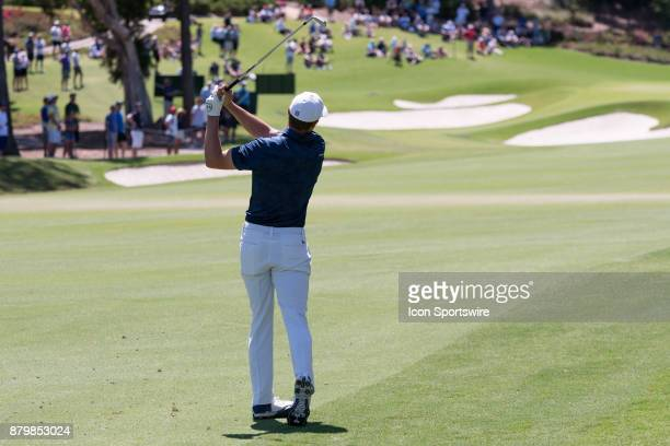 Jordan Spieth hits his approach shot at the final round of the 102nd Australian Open Golf Championship at The Australian Golf Club in Sydney on...
