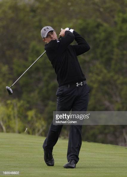Jordan Spieth hits his drive on the 15th hole during the first round of the Valero Texas Open held at the ATT Oaks Course at TPC San Antonio on April...