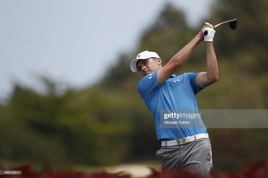 <a gi-track='captionPersonalityLinkClicked' href=/galleries/search?phrase=Jordan+Spieth&family=editorial&specificpeople=5440480 ng-click='$event.stopPropagation()'>Jordan Spieth</a> hits his drive on the third hole during the third round of the Puerto Rico Open presented by seepuertorico.com held at Trump International Golf Club on March 9, 2013 in Rio Grande, Puerto Rico.