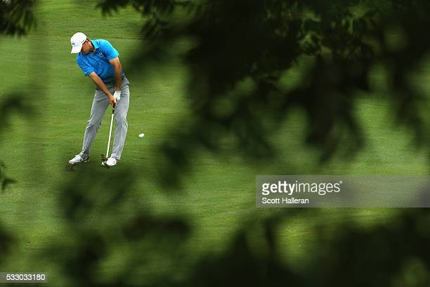 Jordan Spieth hits his second shot on the 12th hole during Round Two at the ATT Byron Nelson on May 20 2016 in Irving Texas