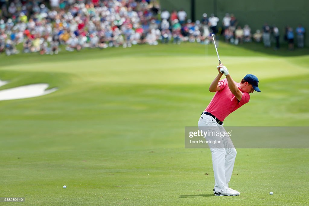 Jordan Spieth hits his second shot on the first hole during Round Three at the AT&T Byron Nelson on May 21, 2016 in Irving, Texas.