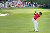 Jordan Spieth hits his second shot on the first hole during Round Three at the ATT Byron Nelson on May 21 2016 in Irving Texas