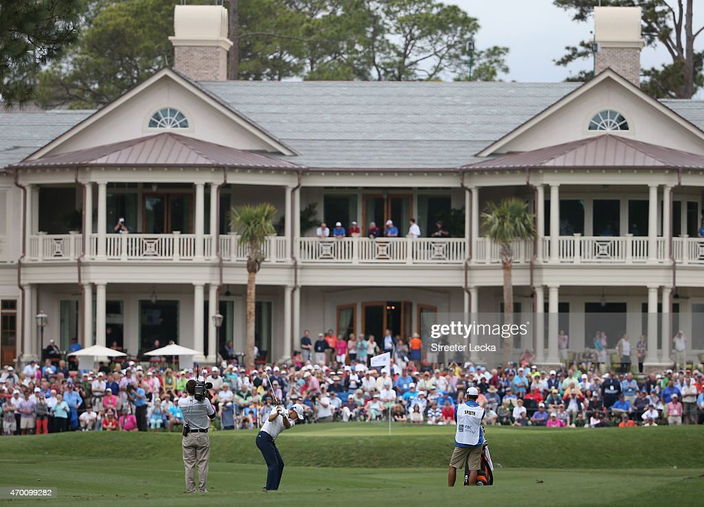 Jordan Spieth hits his second shot on the ninth hole during the second round of the RBC Heritage at Harbour Town Golf Links on April 17, 2015 in Hilton Head Island, South Carolina.