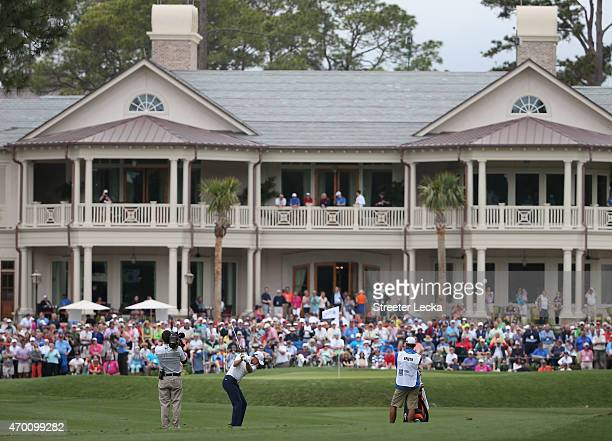 Jordan Spieth hits his second shot on the ninth hole during the second round of the RBC Heritage at Harbour Town Golf Links on April 17 2015 in...