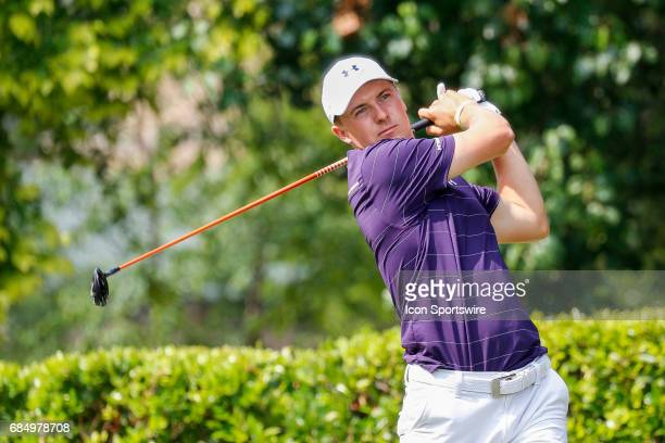 Jordan Spieth hits his tee shot on during the first round of the ATT Byron Nelson on May 18 2017 at the TPC Four Seasons Resort in Irving TX