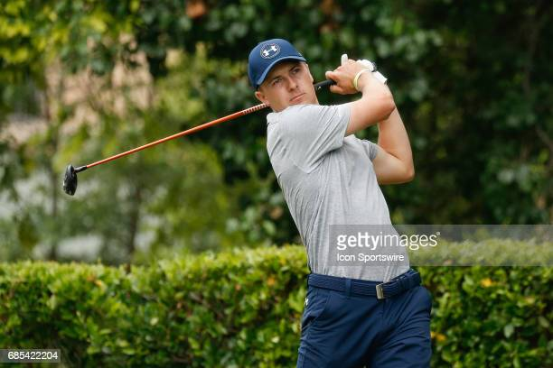 Jordan Spieth hits his tee shot on during the second round of the ATT Byron Nelson on May 19 2017 at the TPC Four Seasons Resort in Irving TX