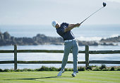 Jordan Spieth hits his tee shot on the 18th hole during the third round of the ATT Pebble Beach National ProAm at the Pebble Beach Golf Links on...
